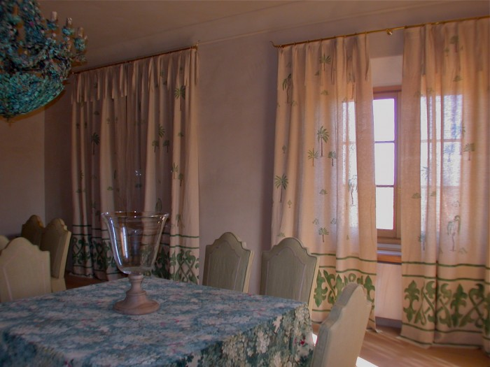 tende sala da pranzo decorazione pittorica di interni